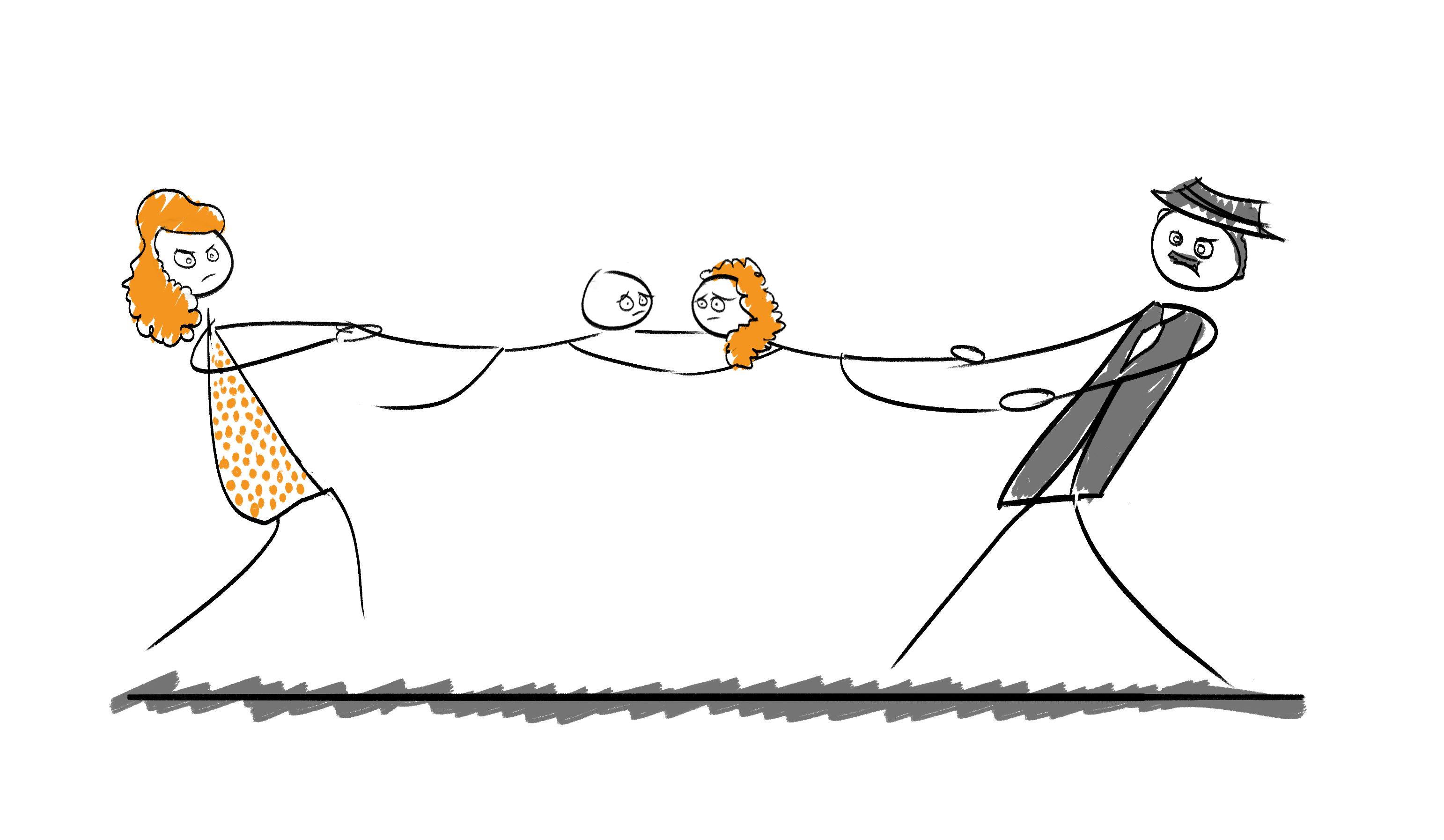 Umgang mit Eltern, Umgangsrecht zwischen Eltern, Fachanwalt Familienrecht Krefeld hilft , Karikatur